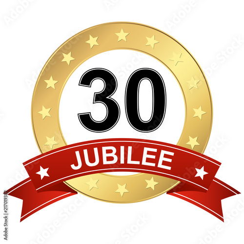 Jubilee button with banner 30 years Fotomurales