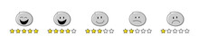 Collection Of Star Rating Icons - Funny Stickamn With Different Facial Expressions. Vector.