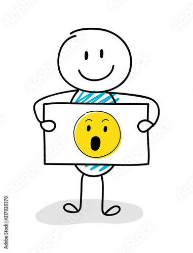Smiley stickman holding board with surprised
