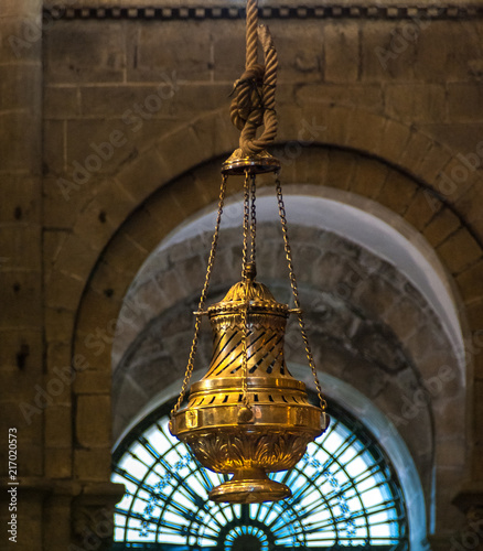 Fotografie, Tablou Big censer Botafumeiro in the Cathedral of Santiago de Compostela