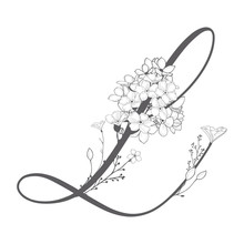 Vector Hand Drawn Floral L Monogram And Logo