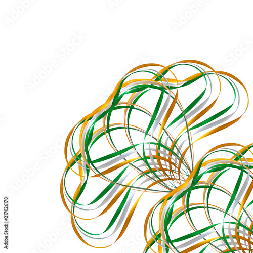 Green Orange Ribbons Isolated On A White Background