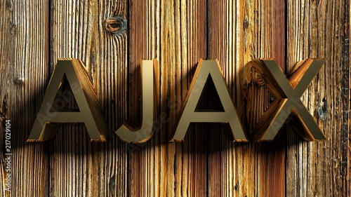 Photo  AJAX brass write on wooden background - 3D rendering