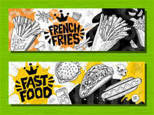 Fast Food Colorful Modern Bann...