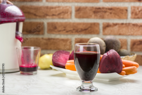 Photo juice from red beets