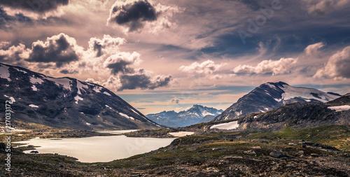 Tuinposter Zalm Wild mountain landscape in the Jotunheimen National Park, Norway