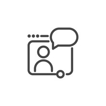 Web Conference, Webinar, Online Seminar Concept Icon. Abstract Person Broadcasts Through Monitor. Graphic Pictogram. Communication Via The Internet. Vector Illustration Isolated