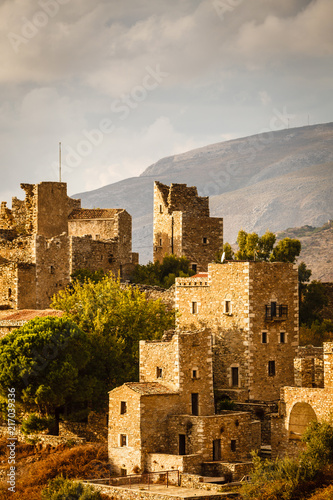 Keuken foto achterwand Historisch geb. Tower houses in Vathia Greece Mani Peninsula
