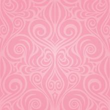 Elegant Vintage Card With Damask Floral Pink Vector Wallpaper Design Background