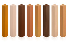 Wood Samples. Wooden Blocks, Posts Or Sticks With Different Textures, Colors, Glazes, From Various Trees To Choose. Isolated Vector Illustration On White Background.