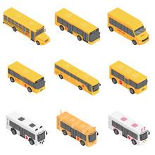 School Bus Back Kids Icons Set. Isometric Illustration Of 9 School Bus Back Kids Vector Icons For Web