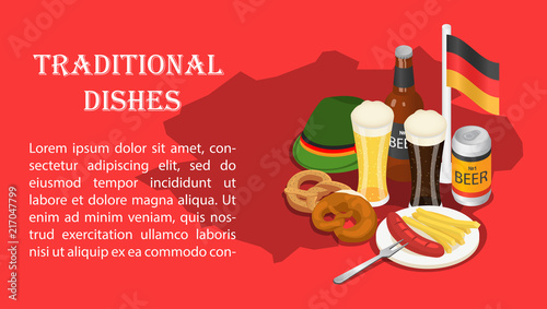 Traditional dishes on Oktoberfest beer party banner concept. Isometric illustration of Traditional dishes on Oktoberfest beer party vector banner for web