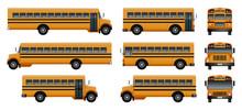 School Bus Back Kids Icons Set...