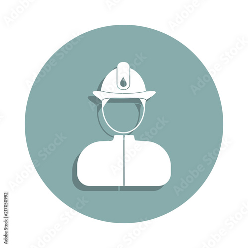 Fireman avatar icon in badge style  One of Avatars