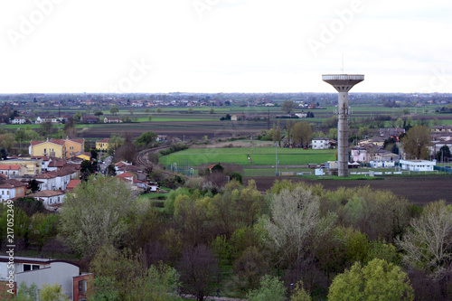 Fotografie, Obraz  Aerial view of the edge of the town of Rovigo in the Po valley Italy