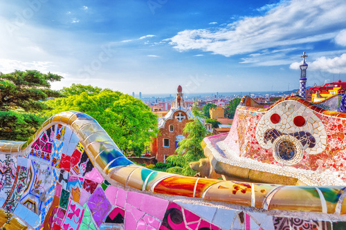 Fotobehang Historisch geb. Barcelona, Spain. Gorgeous colorful view of Park Guell - the creation of great architect Antonio Gaudi. UNESCO world heritage site.