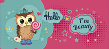Cute Funny Sweet Owl On Abstra...