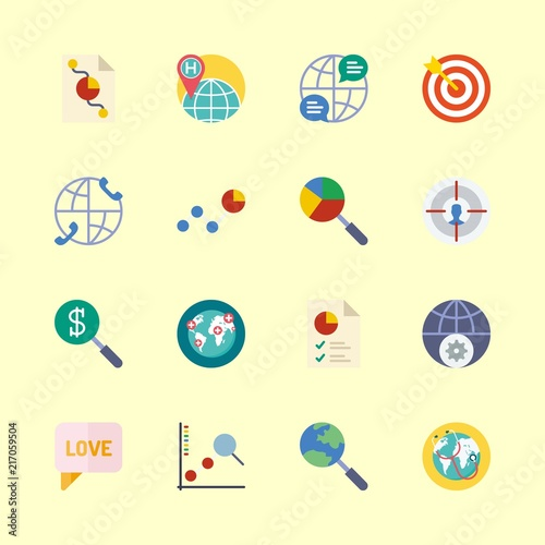 Marketing Vector Icons Set Pie Chart Internet Worldwide And Chat
