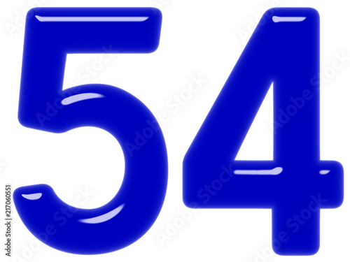 Tela  Numeral 54, fifty four, isolated on white background, 3d render