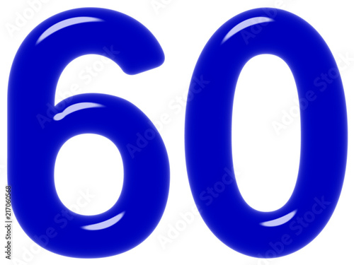 Poster  Numeral 60, sixty, sixty, isolated on white background, 3d render