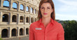 canvas print picture - White female tour guide near Roman Colosseum giving brief history of landmark