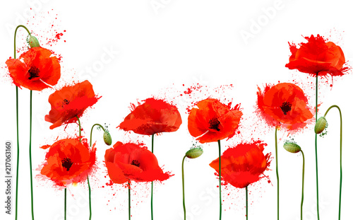 Obraz Beautiful abstract  background with red poppies flowers. Vector. - fototapety do salonu