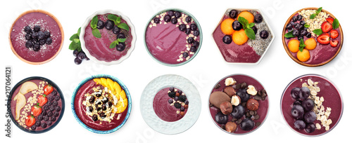 Set with delicious acai smoothie on white background, top view Wallpaper Mural