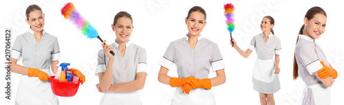 Obraz na plátně Set with chambermaid in uniform and cleaning supplies on white background