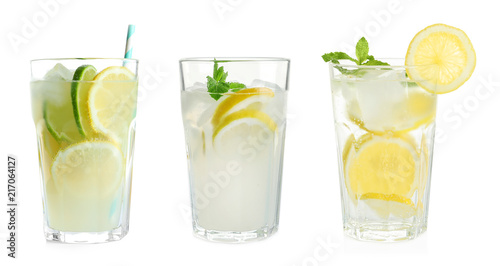 Set with fresh lemonade on white background
