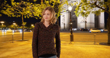 Pretty Caucasian Girl Wandering On Paris Street At Night