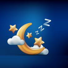 Vector 3d Style Illustration Of Golden Moon, Stars And Clouds On Blue Background. Sleeping Concept. Night Dream Icons And Design Elements.