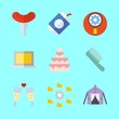 food vector icons set. toast, wedding cake, settings and tools and utensils in this set
