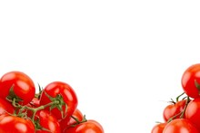 Ripe Red Tomatoes On A White