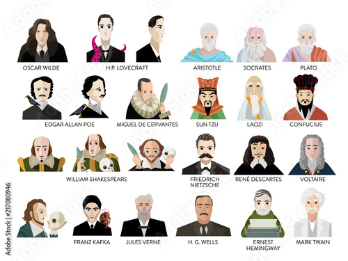 great writers portraits Wallpaper Mural