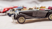 Collection Of Old Car Model. Replica Of Vintage Car. Collectible Toys