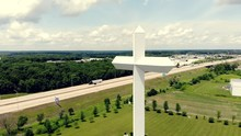 An Aerial Shot Of The Cross At The Crossroads On Interstate 57 Near Effingham, Illinois.