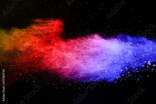 Fotobehang Heelal abstract colored dust explosion on a black background.abstract powder splatted background,Freeze motion of color powder exploding/throwing color powder, multicolored glitter texture.