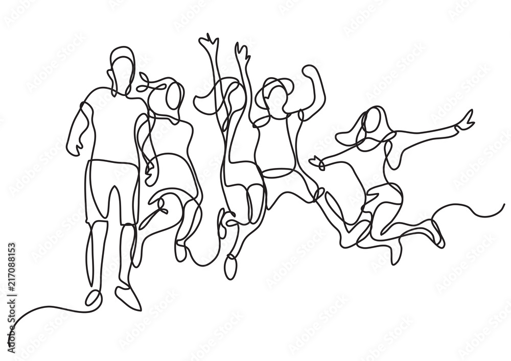 Fototapeta continuous line drawing of happy jumping group of youth