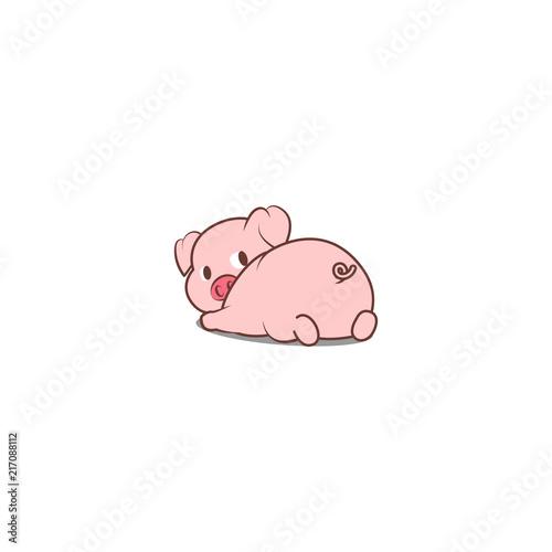 Fotografia, Obraz Cute pig lying down and looking back, vector illustration