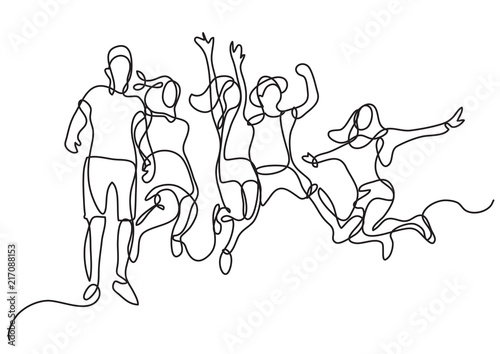 Fototapeta continuous line drawing of happy jumping group of youth obraz