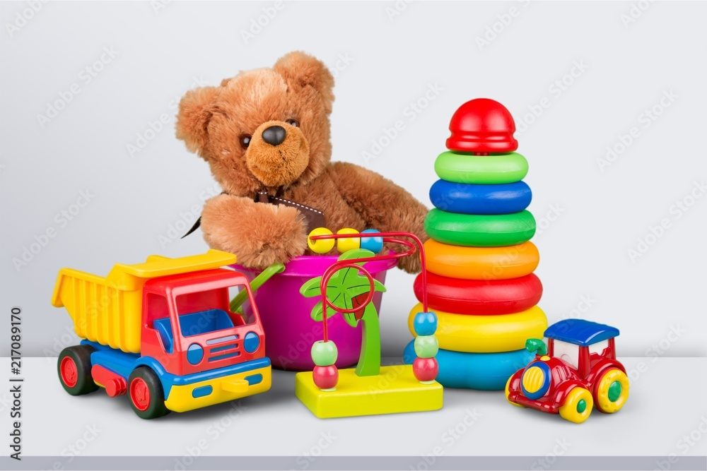 Fototapety, obrazy: Toys collection isolated on  background