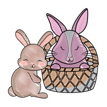 Happy Easter Design With Basket With Cute Bunny Over White Background, Vector Illustration