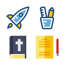 School Vector Icons Set. Bible, Studying, Startup And Pencil Case In This Set