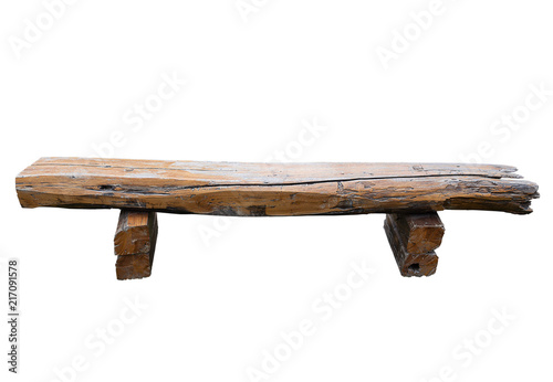 Ancient rural bench from logs. Canvas Print