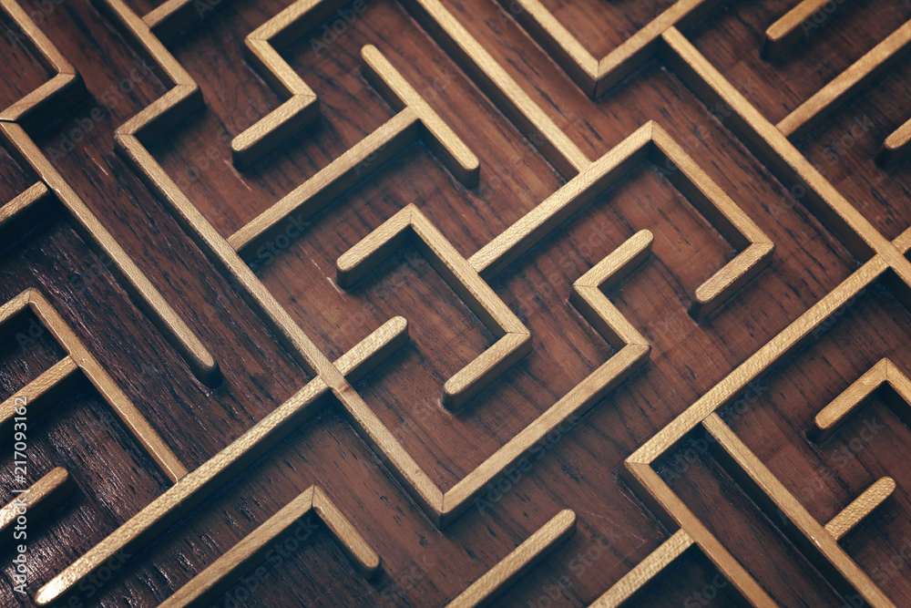Fototapeta Wooden labyrinth maze puzzle close up