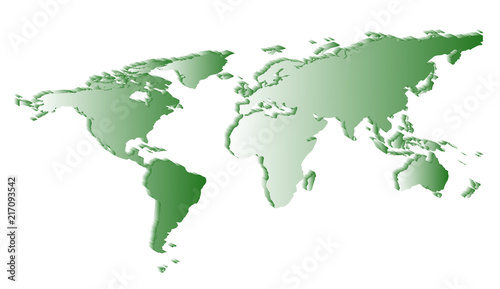 Foto op Plexiglas Wereldkaart flat white world map silhouette angle view with shadows on a white background.
