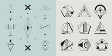 Vector Set Of Geometric Abstract Logos, Badges. Hipster, Modern Style.