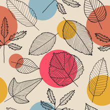 Vector Leaves Seamless Pattern, Hand Drawn Autumn Background.