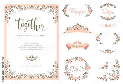 Wedding graphic set with branches, flowers, birds, butterflies ...
