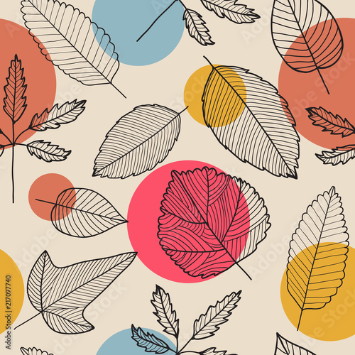 Fototapeta Vector leaves seamless pattern, hand drawn autumn background. obraz